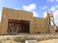 Construction in progress at new Starbucks location at Discovery Place in Mission Valley